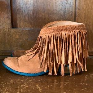 Western Vegan Suede Low Heel Fringe Boots